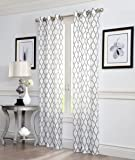 "2 Piece GEO Flocked Sheer Grommet Window Curtain Panels 38"" X 84"" Total 76 "" X 84"" (Grey)"
