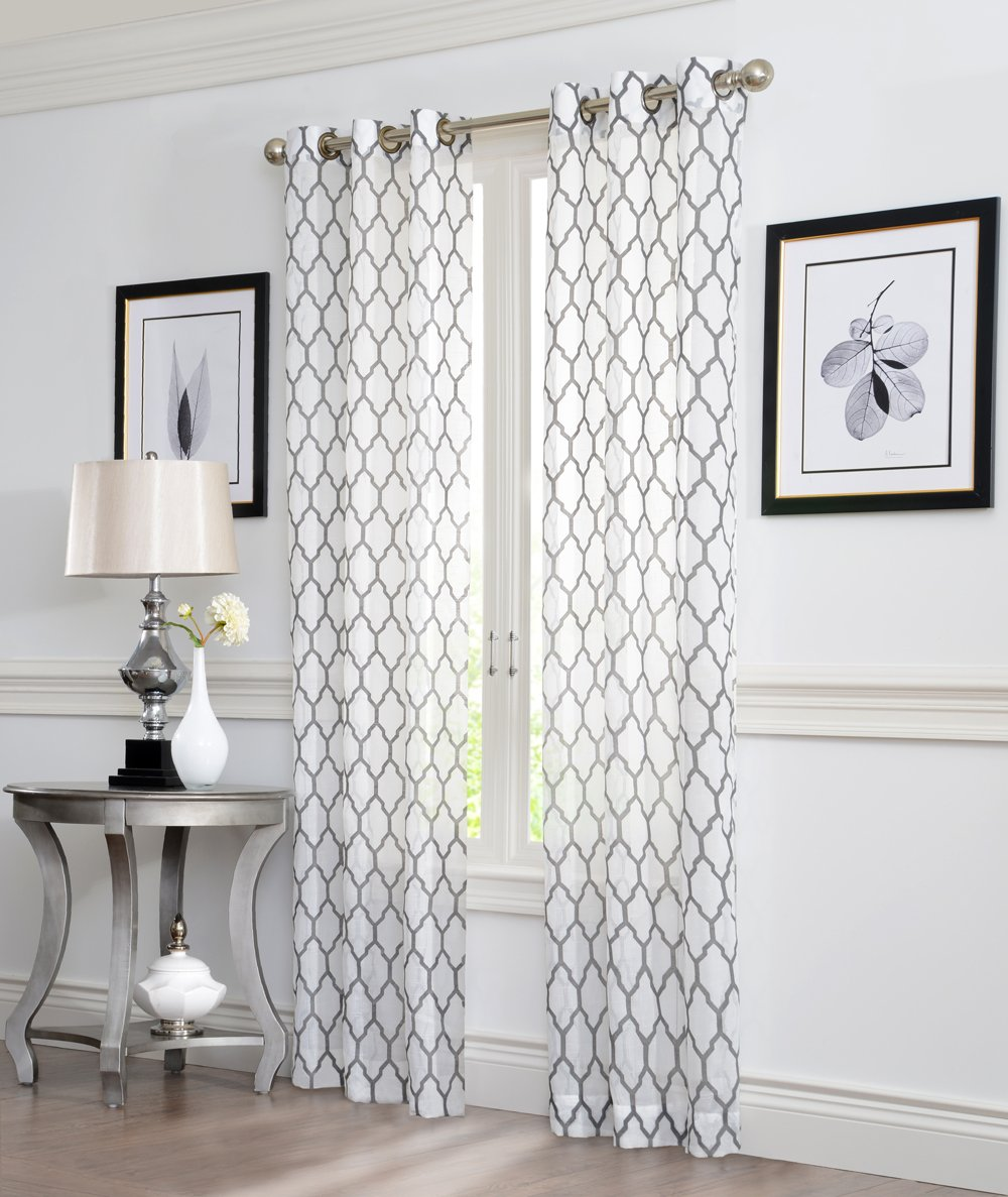 2 Piece GEO Flocked Sheer Grommet Window Curtain Panels Grey