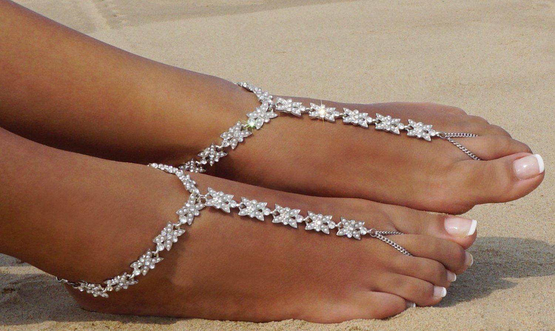 Bienvenu White Faux Pearl Rhinestone Foot Jewelry Beach Anklet Bridal Wedding Bangles Pool Party Accessories Set, Silver Style 3 by Bienvenu (Image #4)