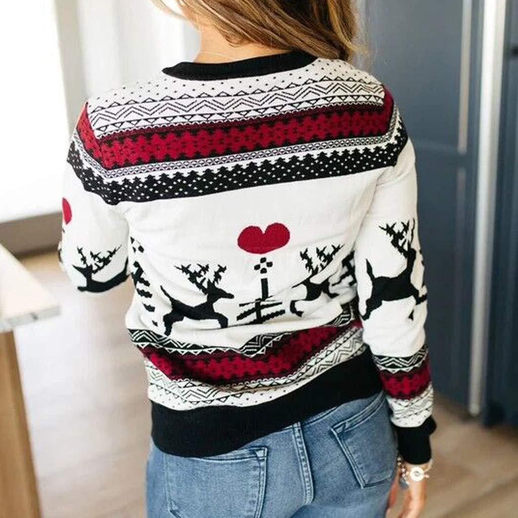 Susenstone T-Shirt Femme Manche Longue No/ëL Sweat-Shirt 3D Renne Imprim/é Hiver Chic Sweatshirt Ado Fille Pas Cher A La Mode Tops Blouse Pulls Pullover
