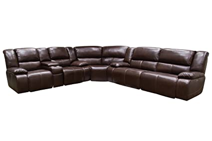 Amazon.com: Amarillo Reclining Leather Sectional: Kitchen ...