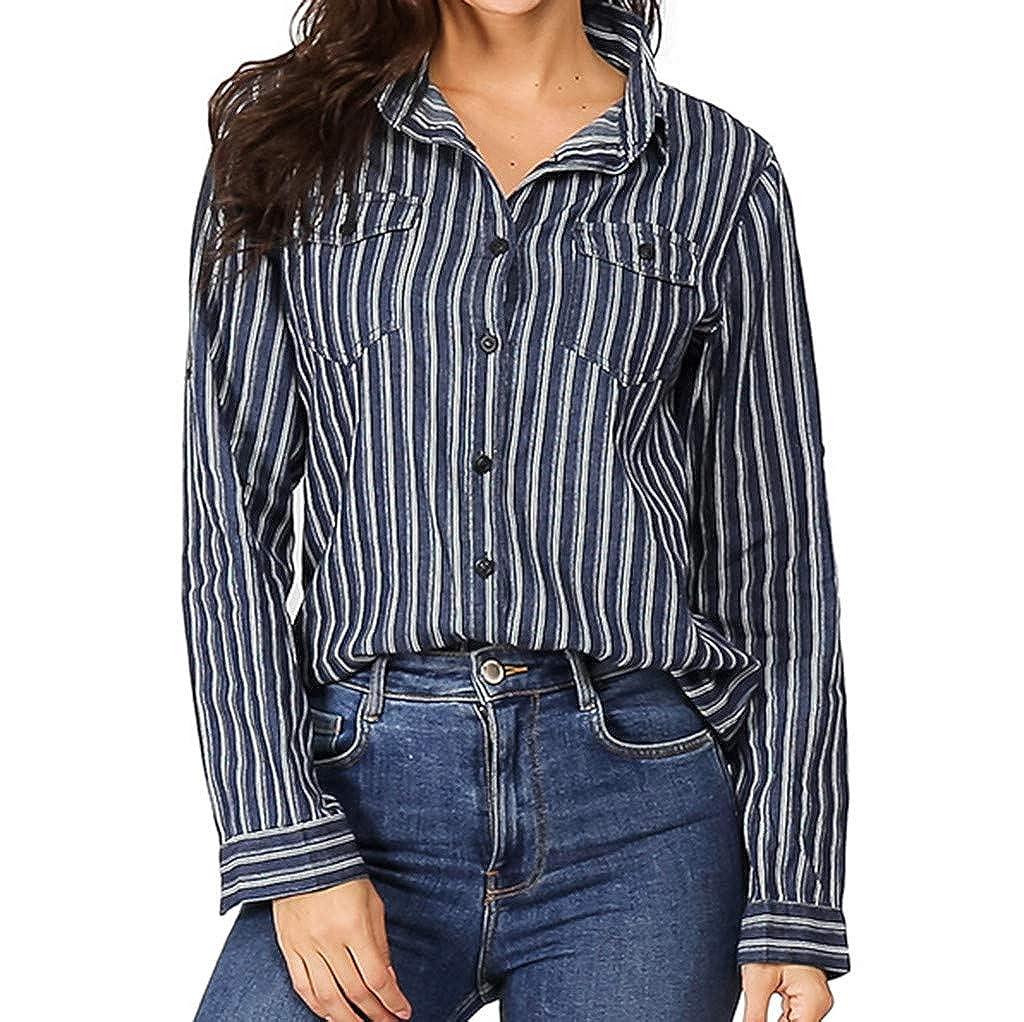 ZODOF Mujer Blusa Cuello En V Camiseta de Mangas Largas ...