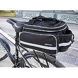 Welltop 自転車バッグ リアバッグ 25L  水筒入れ付き マウンテン/ロード/MTBバイク 防水カバー付き 携行バッグ ブラック