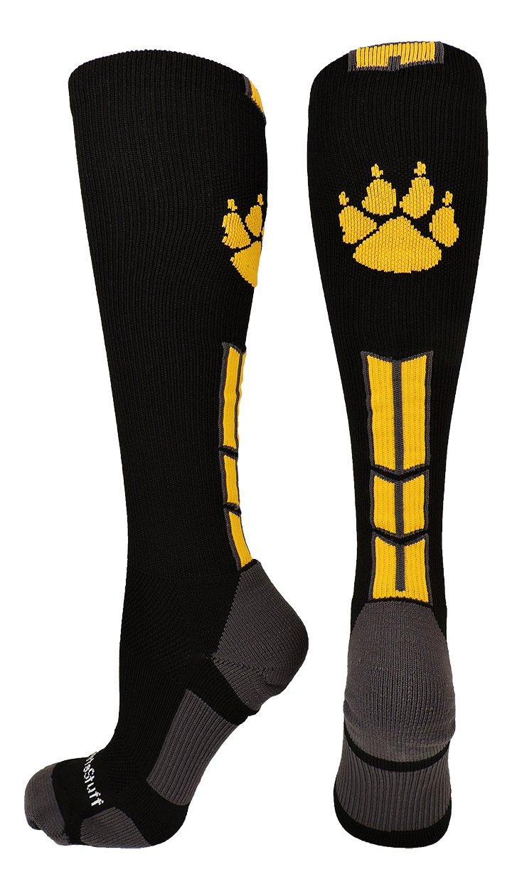 MadSportsStuff Wild Paw Over The Calf Socks (Black/Gold/Graphite, Small) by MadSportsStuff