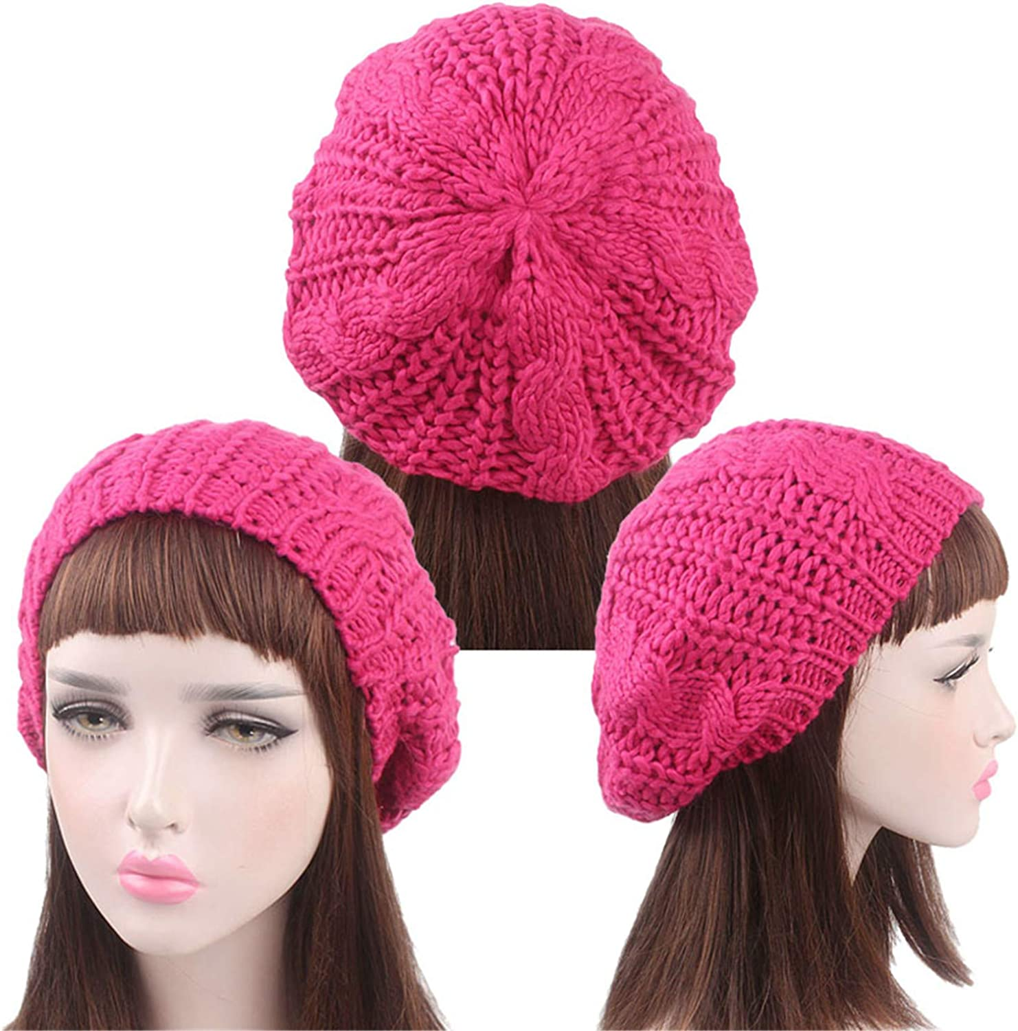 Fashion Lady Girl Twisted Hemp Flower Beret Women Warm Knitted Beanie Hat Multicolor Winter Handmade Knitting Cable Cap Yd01009 58Cm Head Size