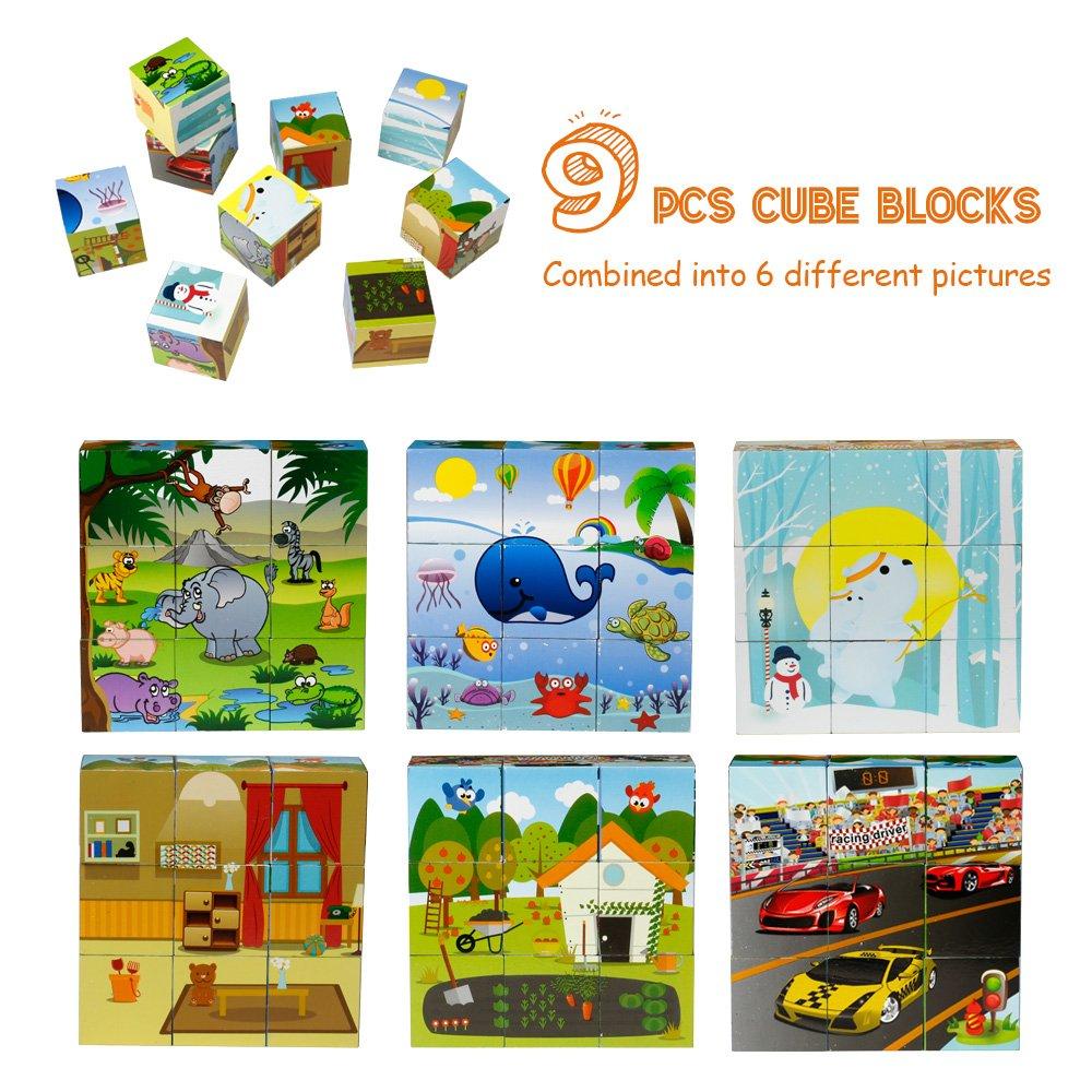 Puzzle Animal en Bois avec Cube d\'activité 123 PCS Puzzle Magnétique pour Garçons et Filles Cadeau de Noël et Anniversaire