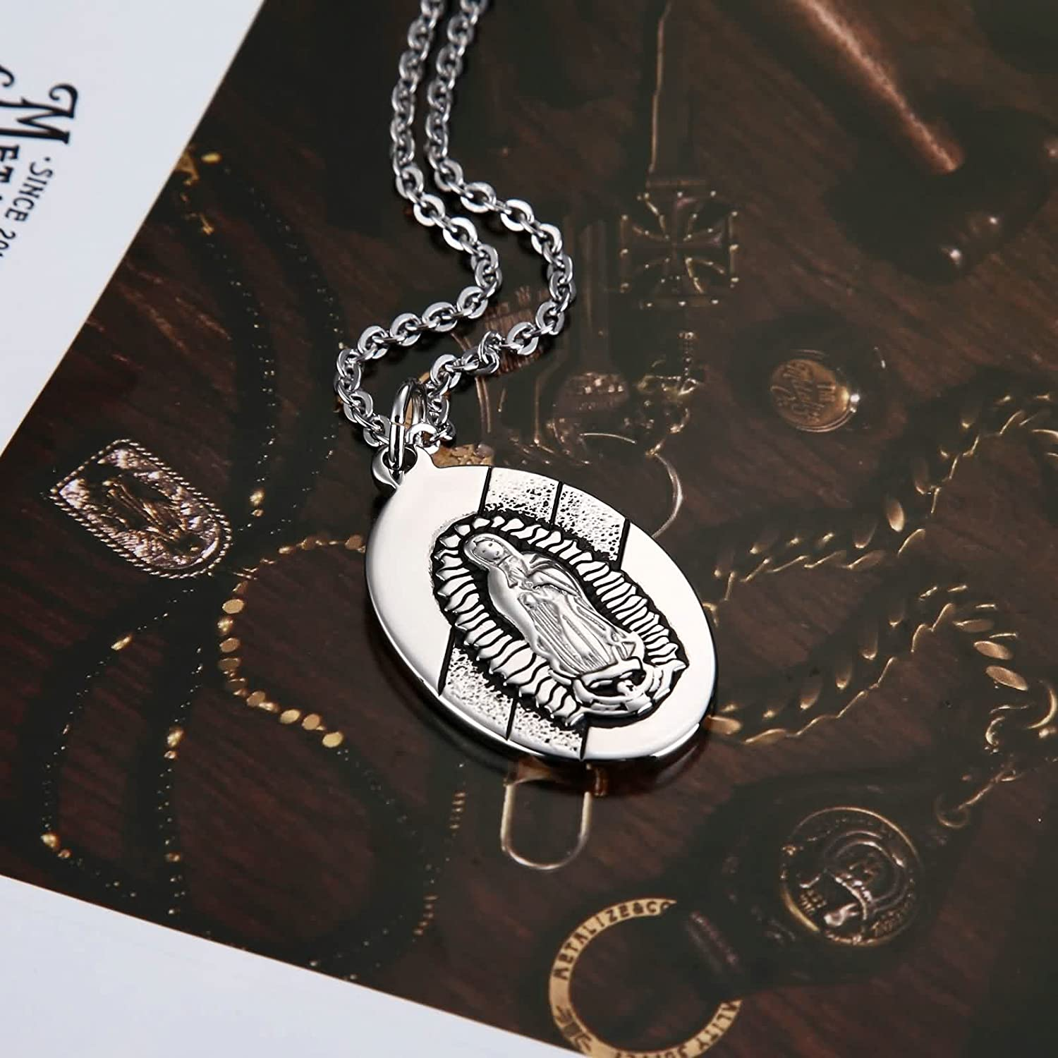 Gnzoe Jewelry Women Stainless Steel Oval Virgin Maria Pendant Lucky Charm Happiness Medallion Our Love U