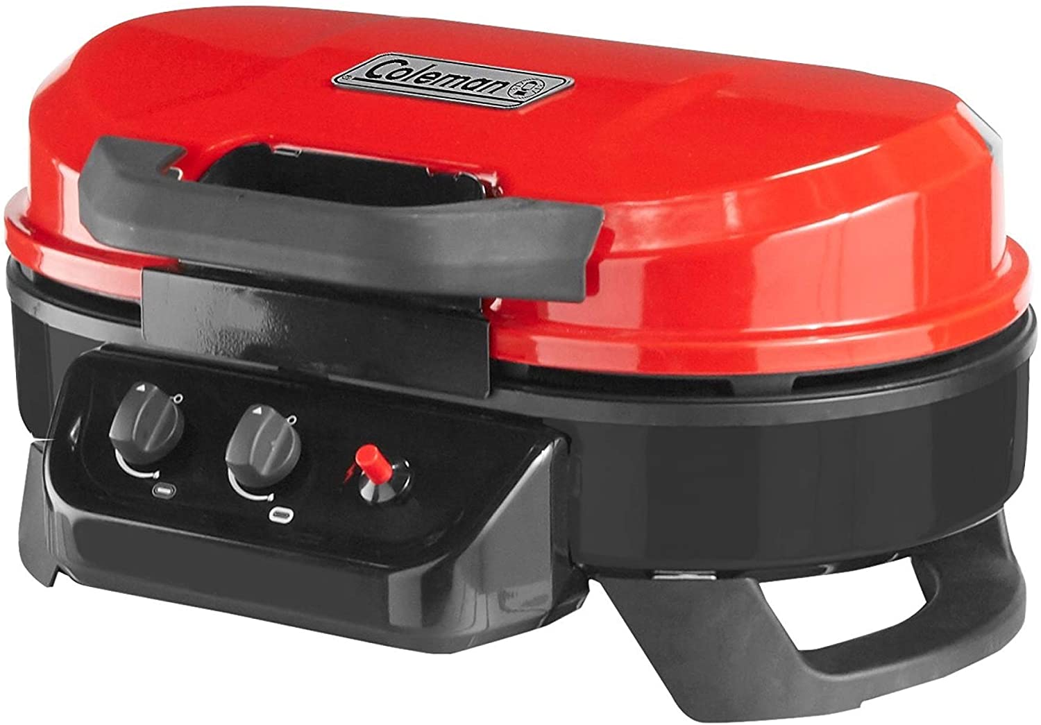 Image of the Coleman portable grill in red and black color.