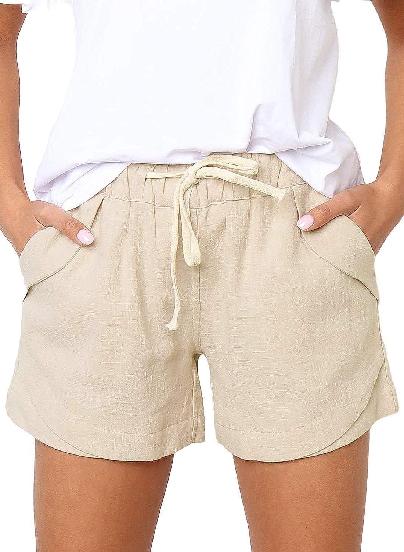 critico Extra Abbreviazione  Arainlo Womens Casual Drawstring Elastic Waist Summer Cotton Linen Beach  Shorts with Pockets: Amazon.co.uk: Clothing