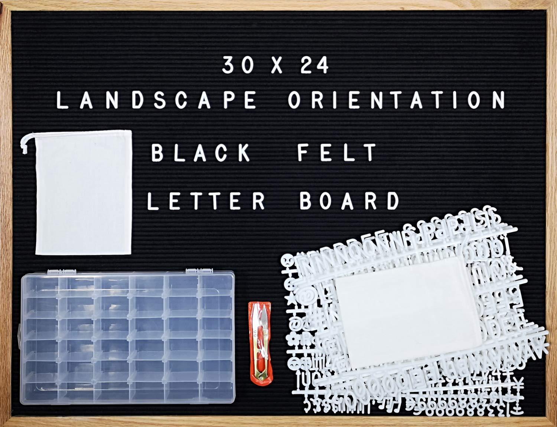 "Black Felt Letter Board 30 X 24 Landscape Orientation with 692-Piece Set of 1"" and 3/4"" Letters, Symbols & Emojis, 36 Slot Set Organizer, Cutters, 2 Letter Pouches"