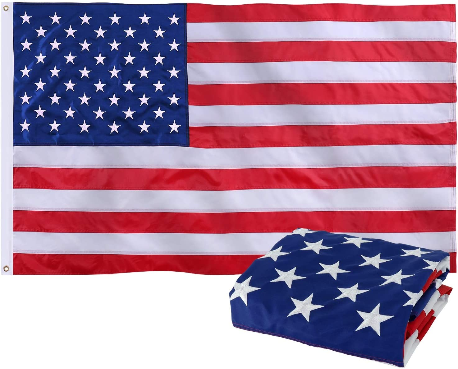 Jetlifee American Flag 3x5 Ft Nylon US Flag, Embroidered Stars, Sewn Stripes, Brass Grommets, Vivid Color UV Protection,Outdoor and Indoor Upgraded Durable USA Flags