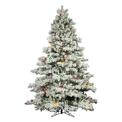 "Flocked Alaskan 7' 6"" White Artificial Christmas Tree with 800 Multicolored  Lights ... - Amazon.com: Flocked Alaskan 7' 6"