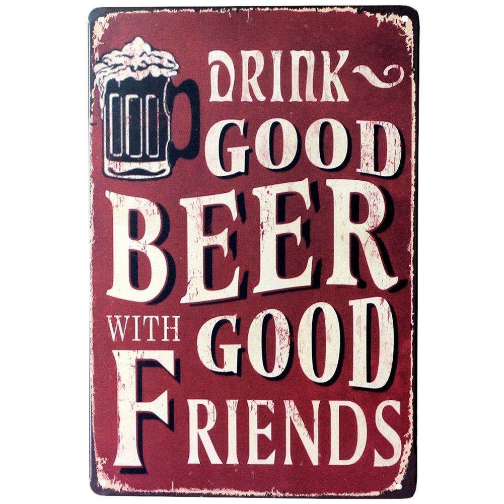 Hosaire 1x Good Beer Good Friends Cartel de Estaño Diseño,Placa de Arte Pintura de estaño,Decoración Bar Café Vintage Pub Size 30 * 20cm