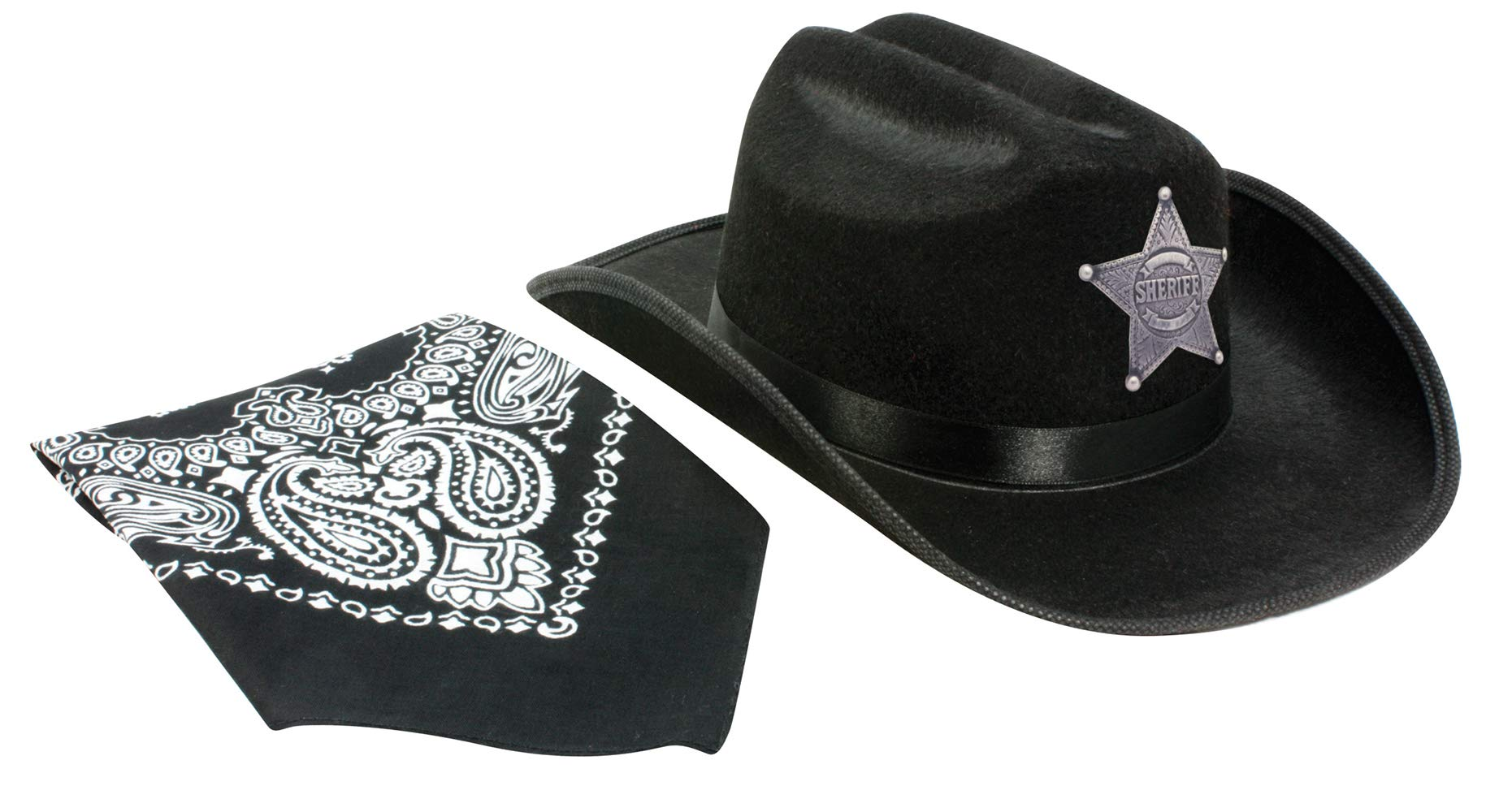Aeromax Jr. Sheriff Hat Black with Bandanna