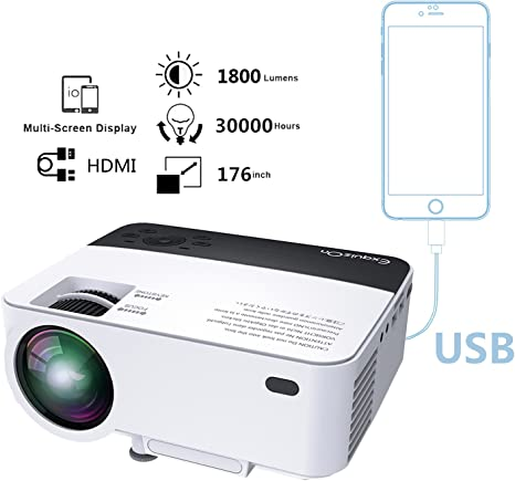 exquizon T5 – Video proyector LCD LED 1800 Lumens Mini ...