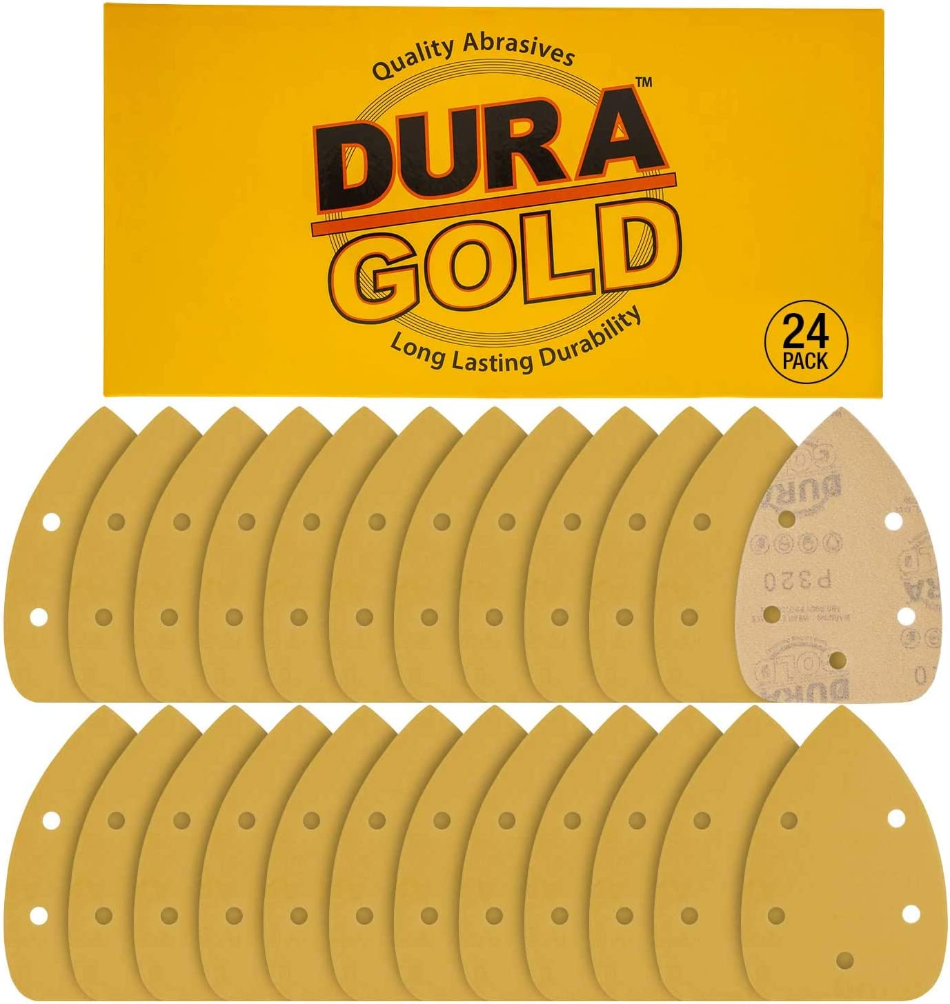 18 Sheets of 40 Grit 5-Hole Hook /& Loop Sanding Sheets for Mouse Sanders Premium Hook /& Loop Dura-Gold Sandpaper Finishing Sheets for Automotive and Woodworking