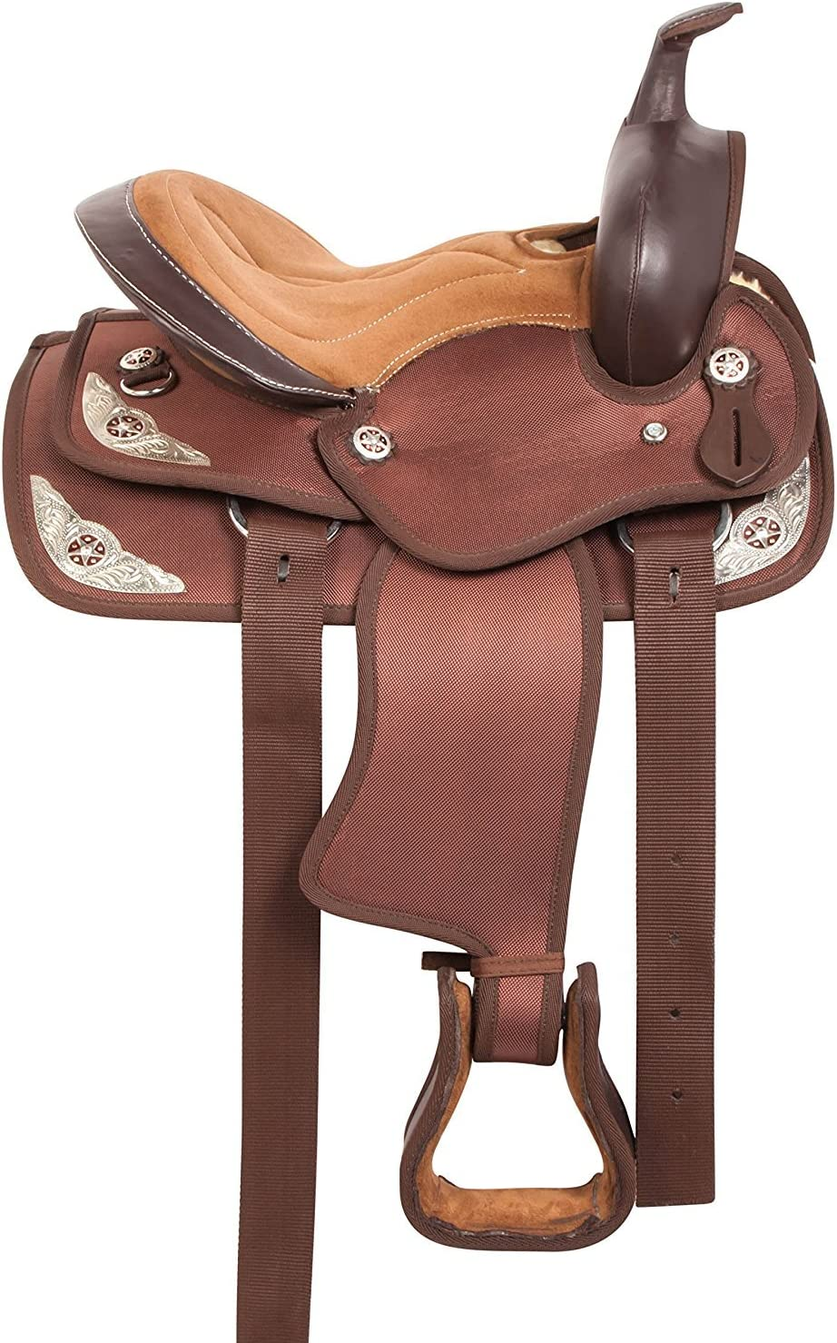 """8/"""" WESTERN SYNTHETIC SADDLE BLACK//PINK//PURPLE//LIGHT BROWN COLOR HORSE TACK"""