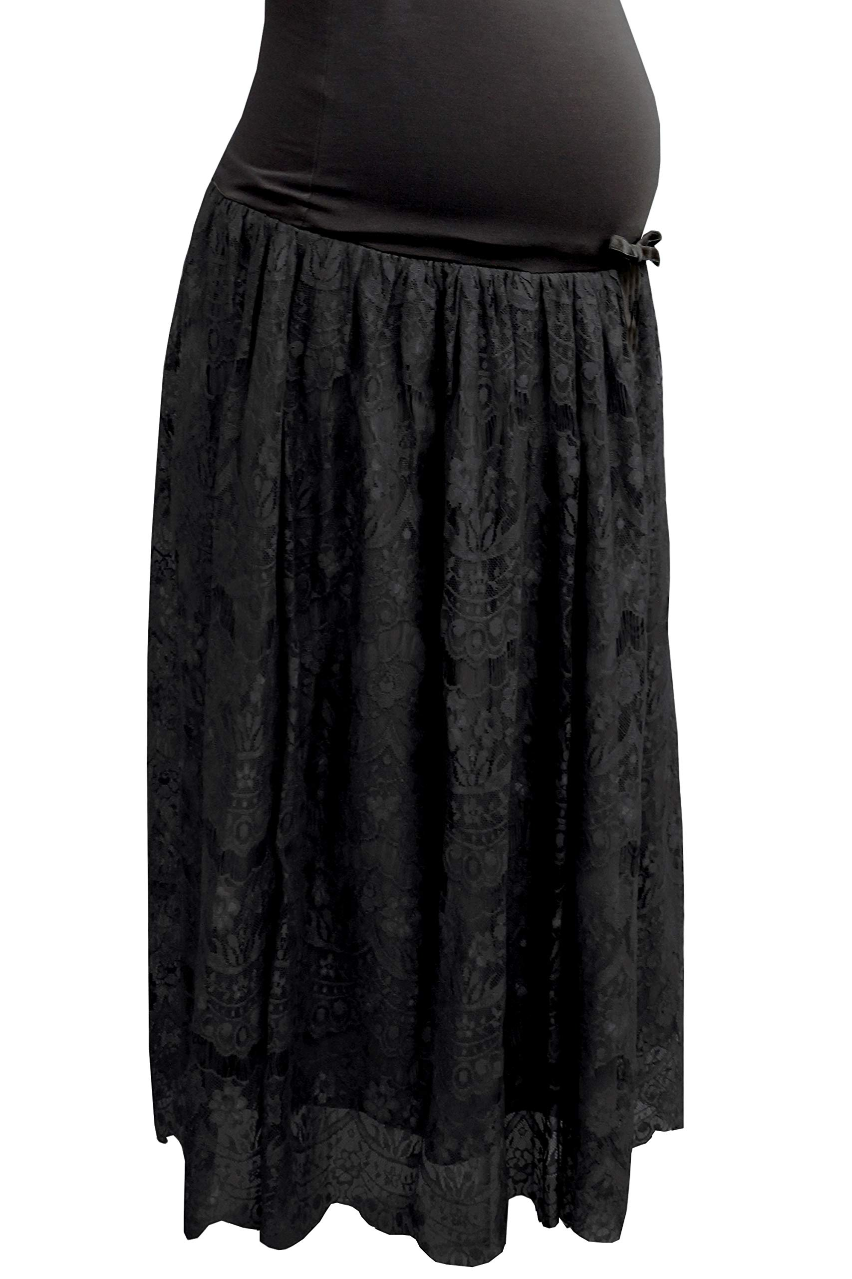 Sweet Mommy Maternity and Post-Partum Elegant Lace Maxi Skirt, Black, L by Sweet Mommy