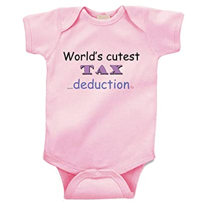 """ World's Cutest Tax Deduction "" Custom Boutique Baby bodysuit onesie."