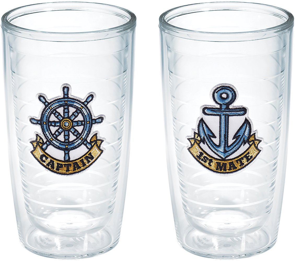 Tervis Captain First Mate Emblem Bottle, 16-Ounce, Pack of 2, On The Water - 1168889 by Tervis