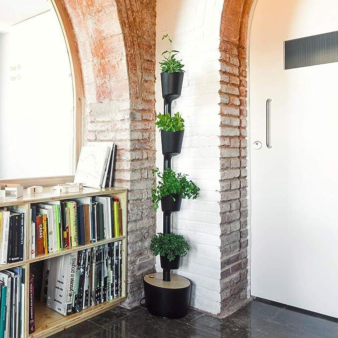 Kit Huerto urbano vertical con autorriego digital, negro, 4 ...