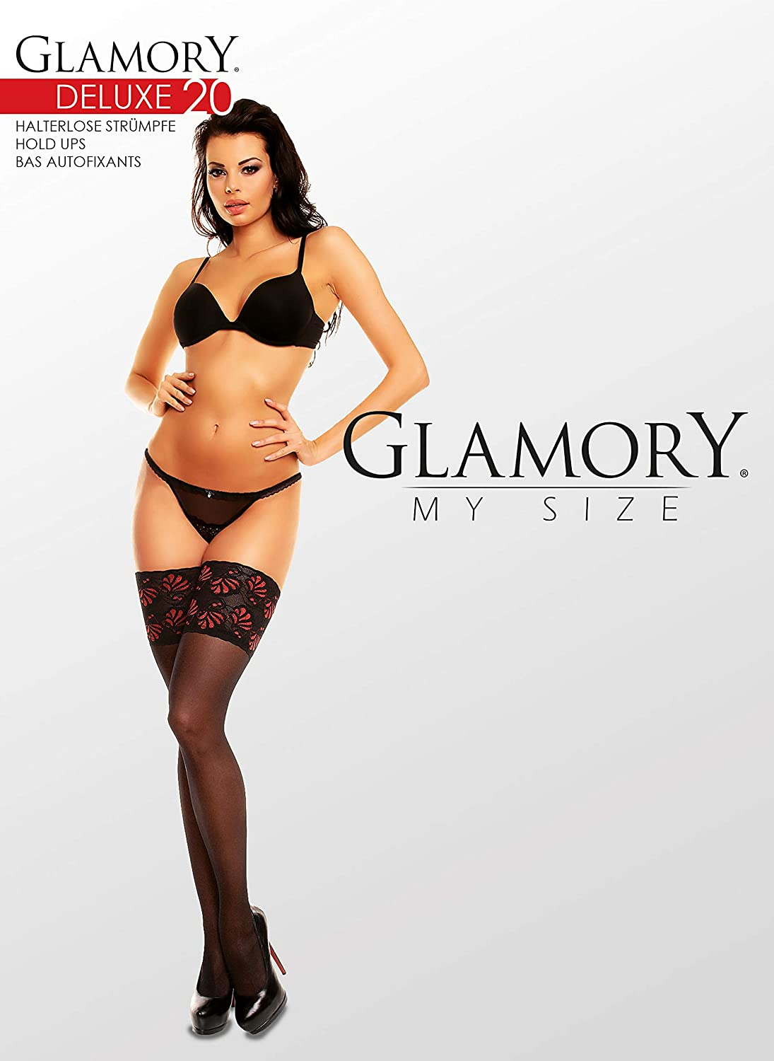 20 DEN XXXX-Large Donna GLAMORY Deluxe 20 Collant Multicolore Schwarz//Rot