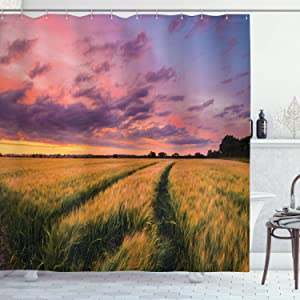 Ambesonne Rustic Shower Curtain, Flowing Crop at Sunset Morning in Nature Countryside Style Cloudscape Scene Print, Cloth Fabric Bathroom Decor Set with Hooks, 70