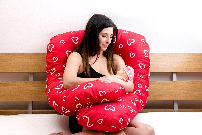 Amilian/® Schwangerschaftskissen Lagerungskissen Relaxkissen ink.Bezug universell gro/ß Katzen Rosa Grau TYP A