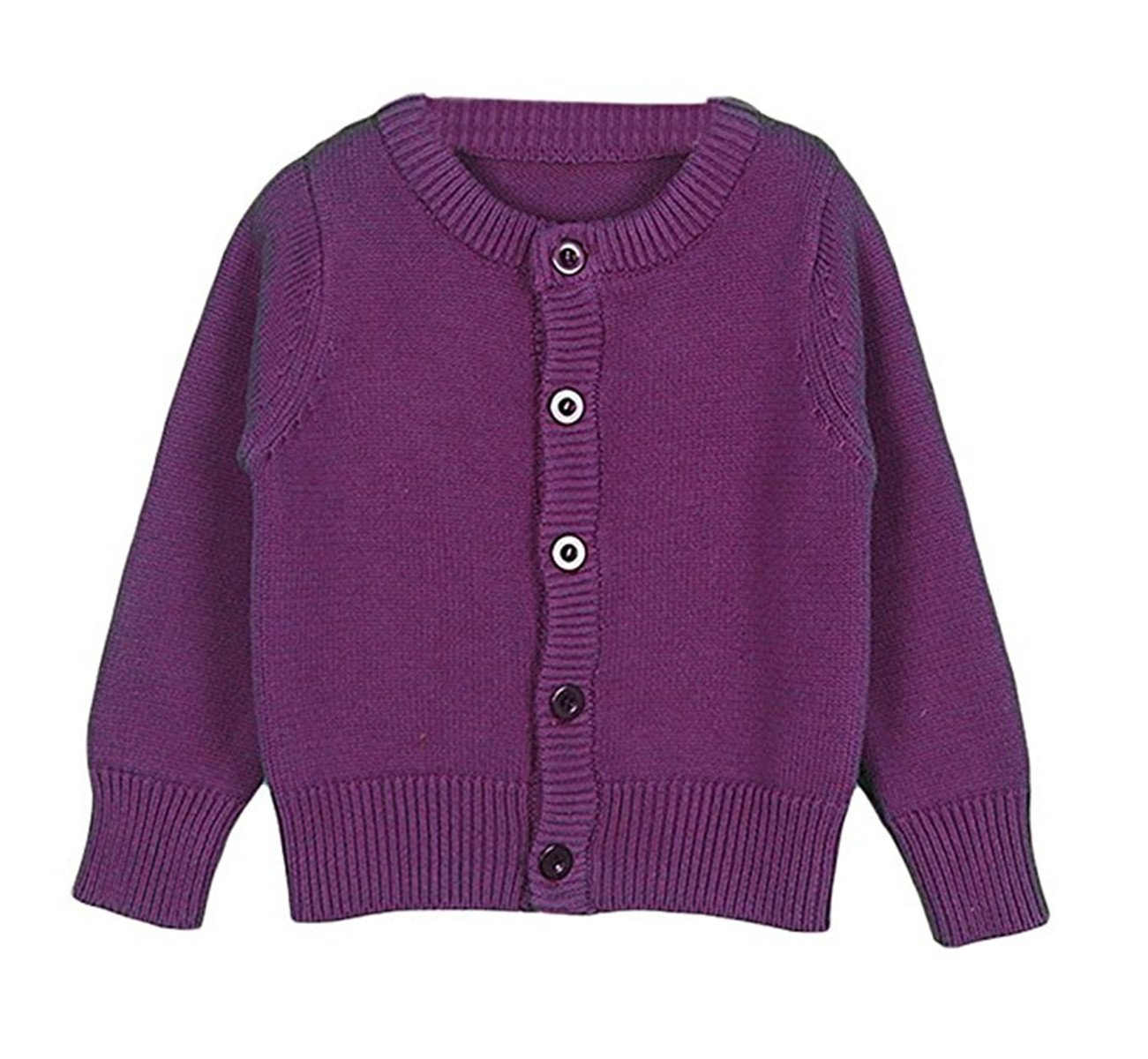 REWANGOING Baby Little Girls Long Sleeve Spring Autumn Knit Cardigan Front Button Sweater 4T