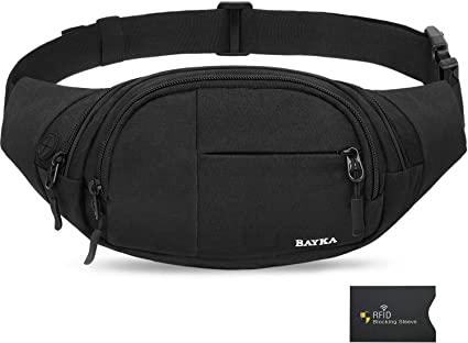 Black Grip Fanny Pack Men Women Waist Bag Pack Quick Release Buckle Water Resistant