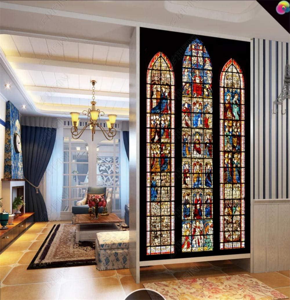 WFYY Vidrio De La Iglesia Vinilo Puerta, Vidrieras Vinilo Puerta, Fotomurales 77x200cm