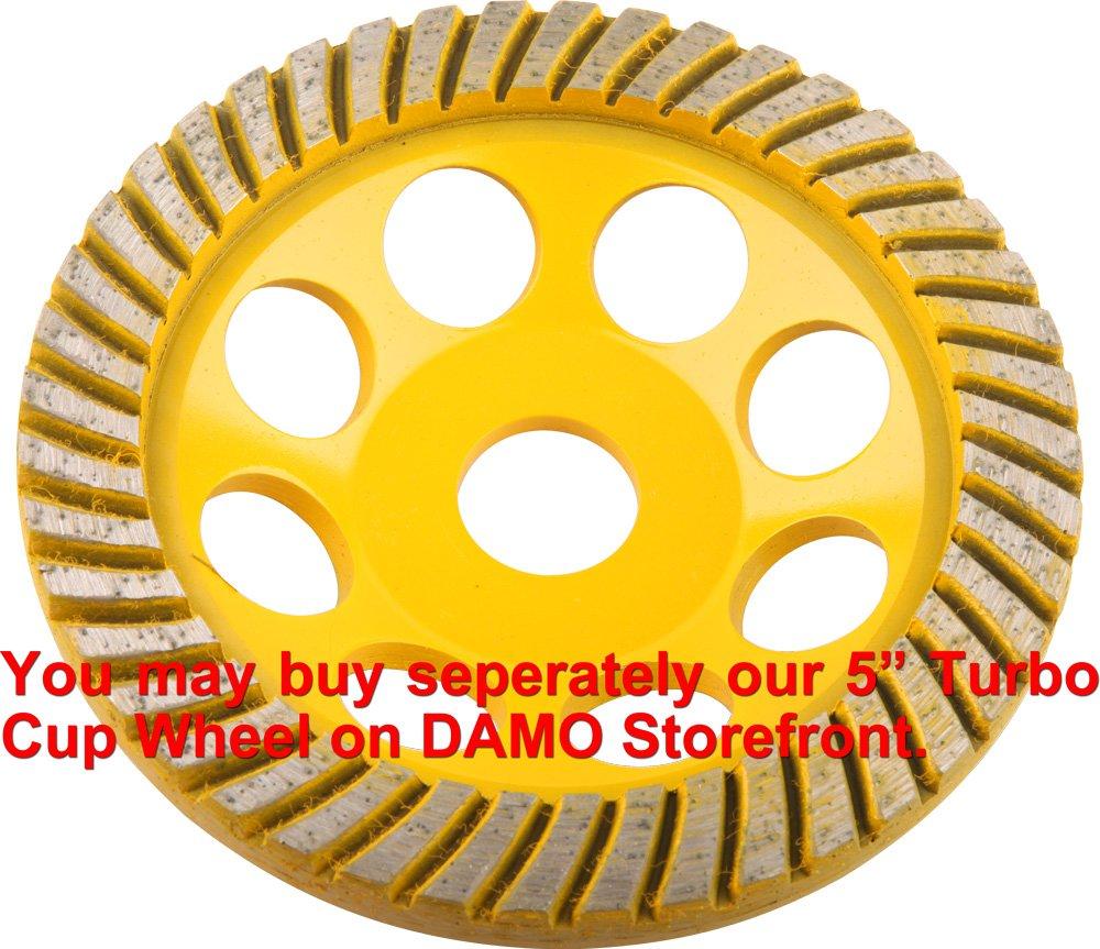 "DAMO 4"" Diamond Turbo Grinding Cup Wheel Medium Grit for Concrete / Granite Floor"