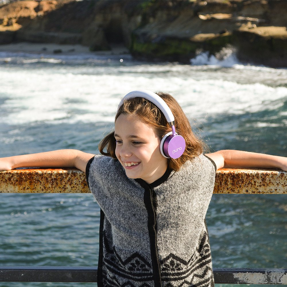 Puro Sound Labs BT2200 Over-Ear Headphones Lightweight Portable Kids Earphones with Safe Wireless, Volume Limiting, Bluetooth and Noise Isolation for iPhone/Android/PC/Tablet - BT2200 Purple by Puro Sound Labs (Image #2)