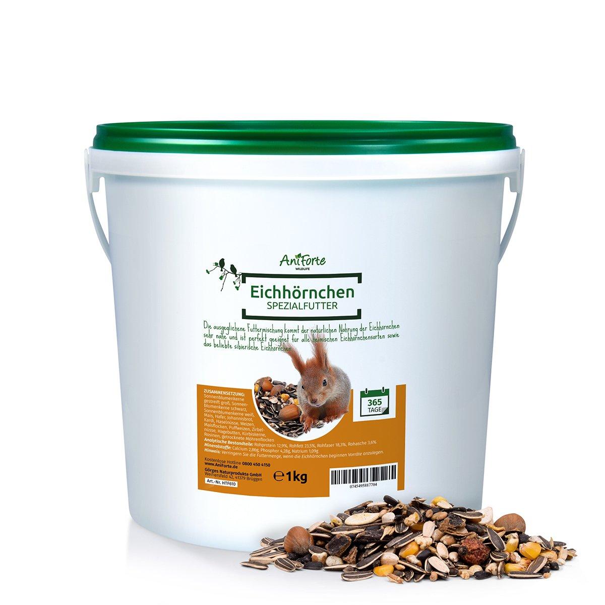 AniForte Wildlife Premium Eichhörnchenfutter 1 kg für Eichhörnchen und Streifenhörnchen - Naturprodukt Mischung, Besondere und artgerechte Eichhörnchen Fütterung - Unsere Spezial Futtermischung Görges Naturprodukte GmbH