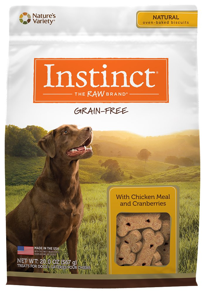 Instinct Grain Free with Chicken Meal & Cranberries Natural Oven-Baked Biscuit Dog Treats by Nature's Variety, 20 oz.
