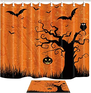 Shocur Orange Halloween Party Shower Curtain Set, Bats and Pumpkin on Ghost Tree, Bathroom Decor Polyester Fabric 69 x 70 Inches with 12 Hooks and Non-Slip 15 x 23 Inches Bath Rug