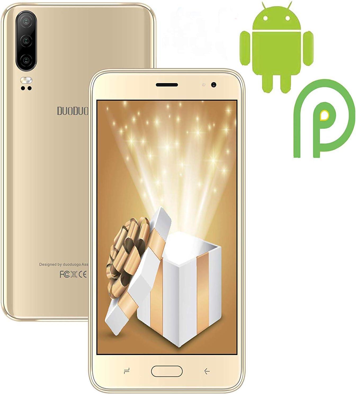 Moviles Libres 4G Android 9.0, J5+(2019) 16GB ROM/128GB Extensión 5.5 Pulgadas Full-Screen 4800mAh Cámara 8MP+5MP Smartphone Libre Quad-Core Dual SIM GPS Bluetooth Moviles Buenos Oro