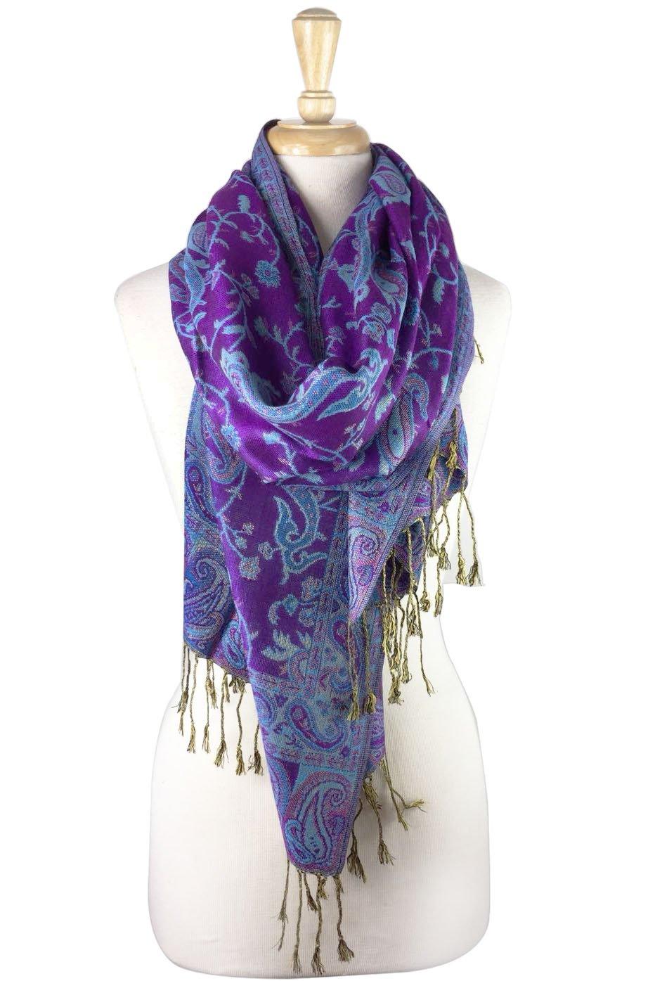 Paskmlna Reversible Paisley Pashmina Shawl Wrap Elegant Colors (#26Violet)