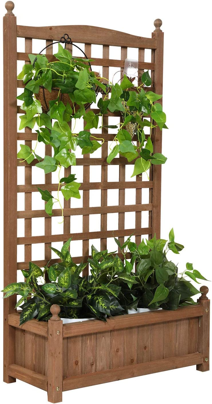 Catrimown Raised Garden Bed Planter Box with Trellis for Flower Outdoor Standing Lattice Panels for Gardening or Yard