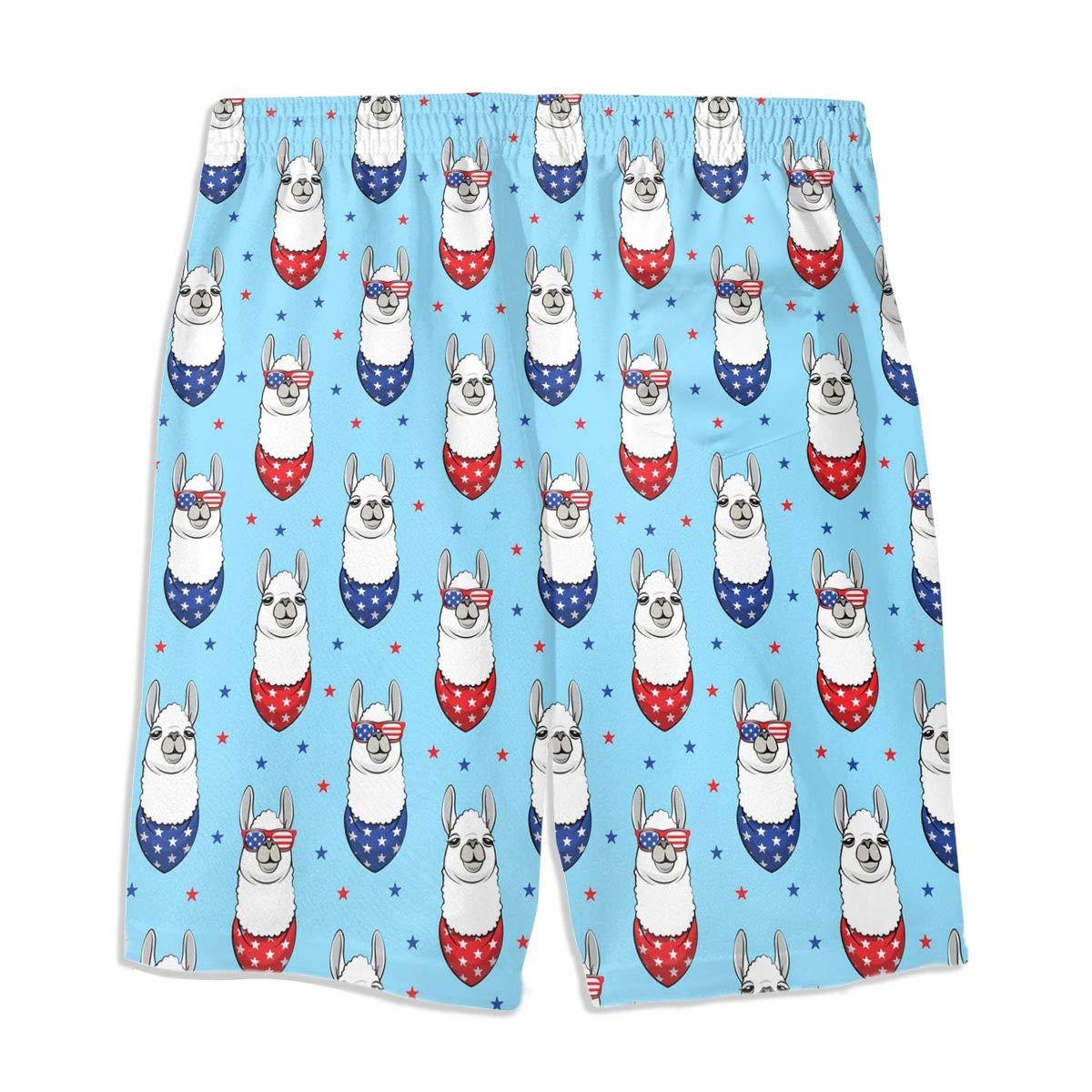 Independence Day Birthday Patriotic 4TH July Happy Llama American Teen Swim Trunks Bathing Suit Shorts Board Beach