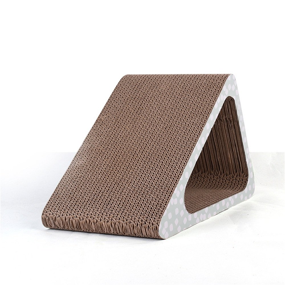 Fashion Triangle Corrugated Paper Cat Scratch Board Luxury Cat Grinder Grip Sofa Toy Cat. Happy Together