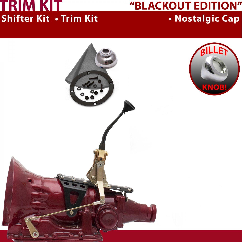 American Shifter 445049 727 Shifter 8 Trim Kit BLK Dual Shift Cap Gry Boot Billet Knob for E0E4A