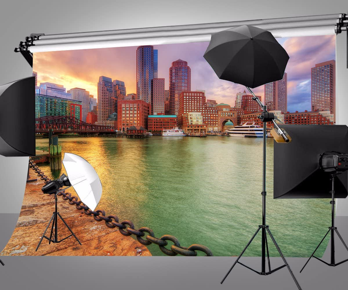 LYLY COUNTY 10/×7 FT Boston Cityscape Photography Backdrops Wedding Video Photo Background for Studio Props 107-295