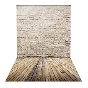 HUAYI Brown Brick Wall Backdrop for Photography Background Wooden Floor Product Portrait Photo Studio Props D-9775