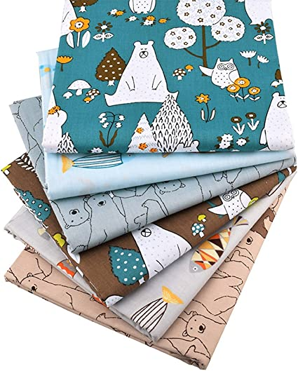 6 Pcs Bears and Fishes Multi Color 100/% Cotton Print Fabric Fat Quarter Bundle 46cm x 56cm Patchwork Sewing Quilting Fabric Approx 18 x 22