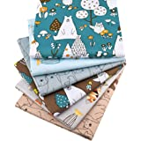 "Zoo Animals Fat Quarters Fabric Bundles, Bear Fish Print Precut Sewing Quilting Fabric,18"" x 22""(Multi)"