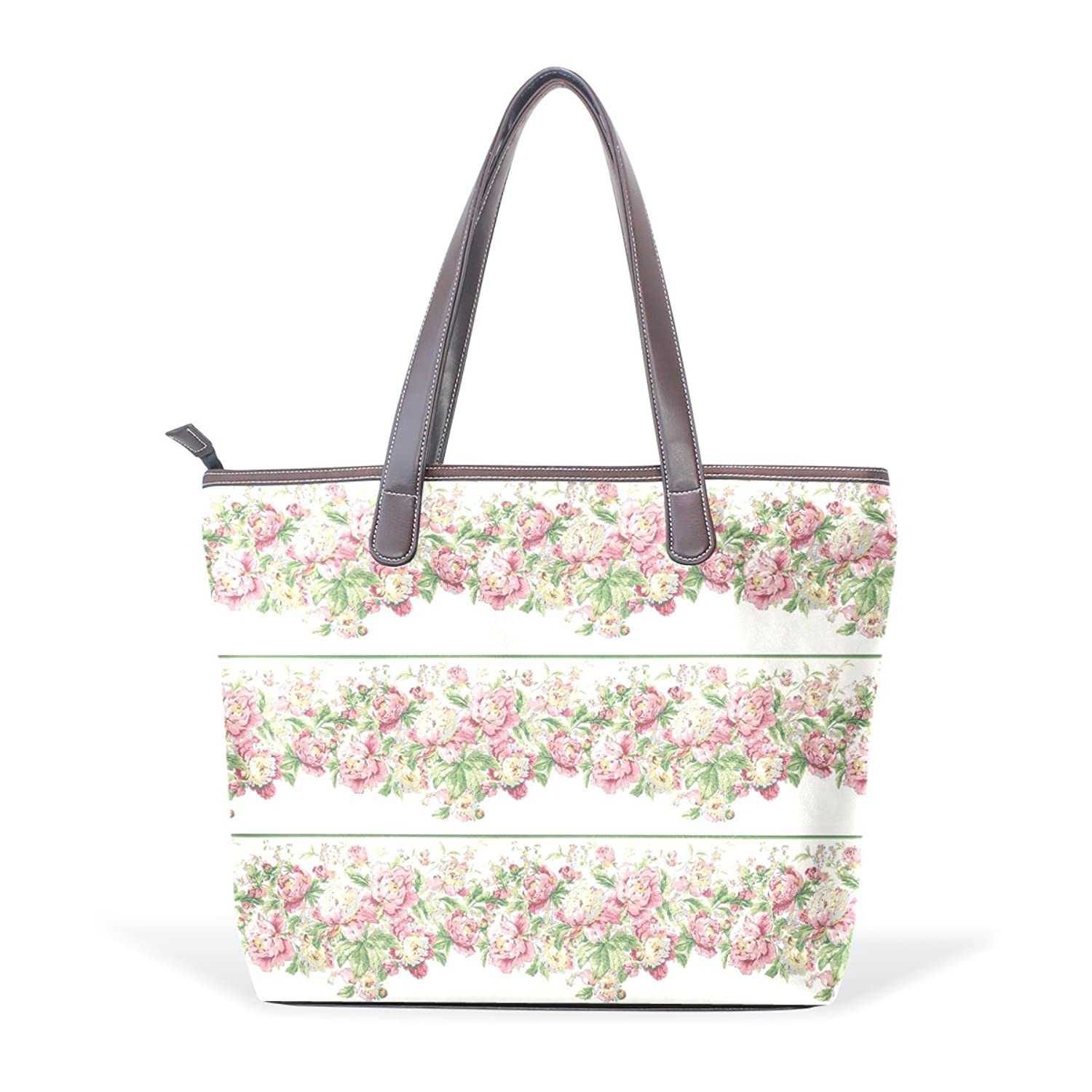 Womens Leather Tote Bag,Shabby Chic Court Vintage Pink Floral,Large Handbag