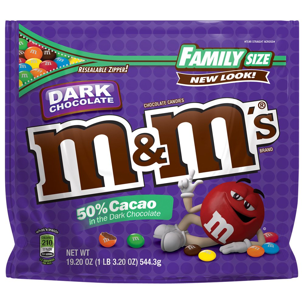 M&M'S Dark Chocolate Candy Family Size 19.2-Ounce Bag (Pack of 8)