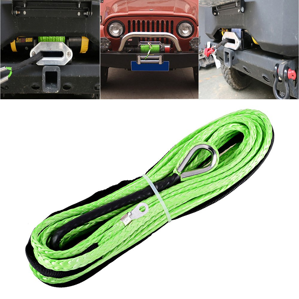 Hawse Fairlead For Recovery Car ATV UTV Jeep Ramsey KFI Vehicle 50 x 3//16 Green Synthetic Winch Rope Cable w//Rubber Stopper