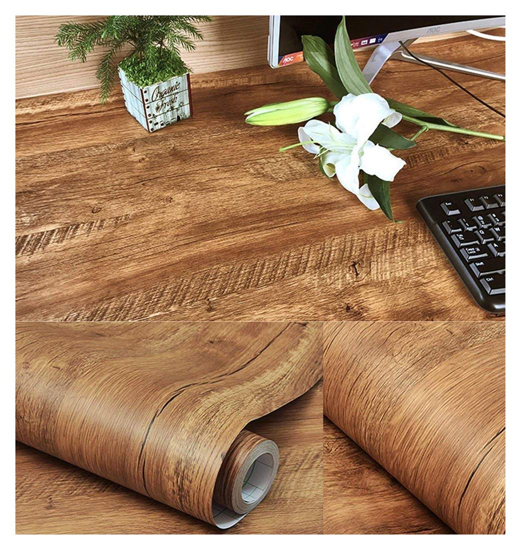 Walldecor1 Brown Wood Grain Contact Paper Self Adhesive Shelf Liner for Kitchen Cabinets Countertops Drawer Furniture Sticker 15.7'' x 78.7''